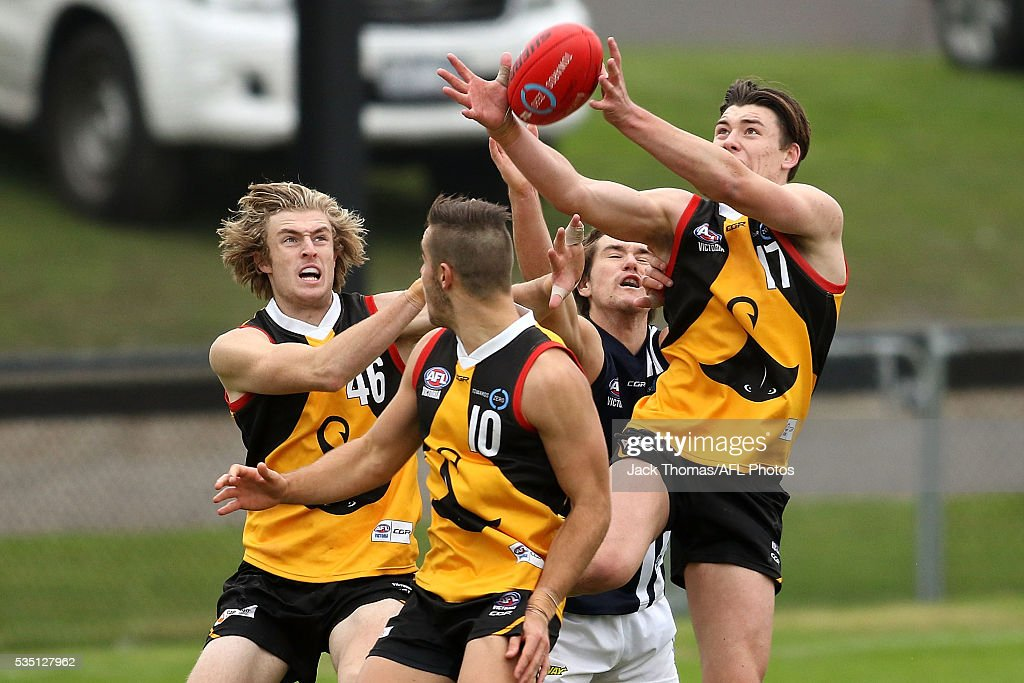 Josh Battle of the Dandenong Stingrays attempts to mark the ball during the round eight TAC Cup match between Dandenong Stingrays and Geelong Falcons at Shepley Oval on May 29, 2016 in Melbourne, Australia.