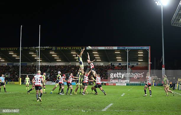 Josh Beaumont of Sale wins the lineout during the Aviva Premiership match between Gloucester and Sale Sharks at Kingsholm on December 4 2015 in...