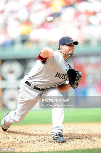 Josh Beckett of the Boston Red Sox pitches during a game against the Philadelphia Phillies on June 14 2009 at Citizens Bank Park in Philadelphia...