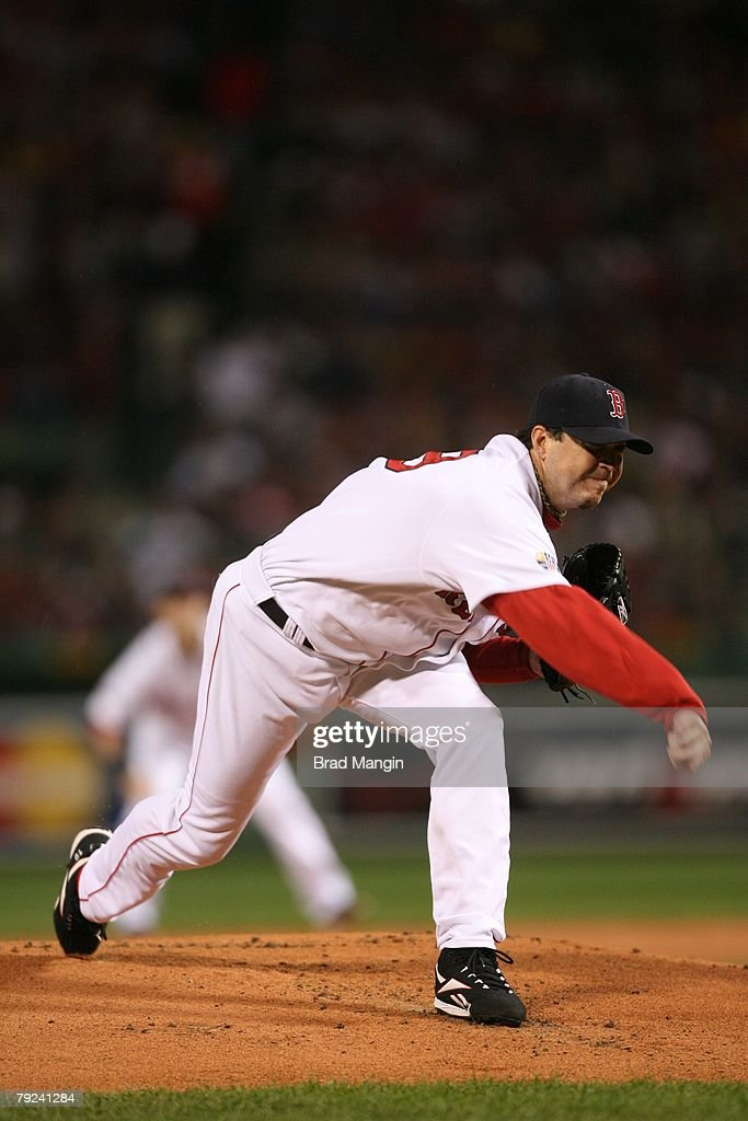 Josh Beckett of the Boston Red Sox pitches during game one of the World Series against the Colorado Rockies at Fenway Park in Boston, Massachusetts on October 24, 2007. The Red Sox defeated the Rockies 13-1.