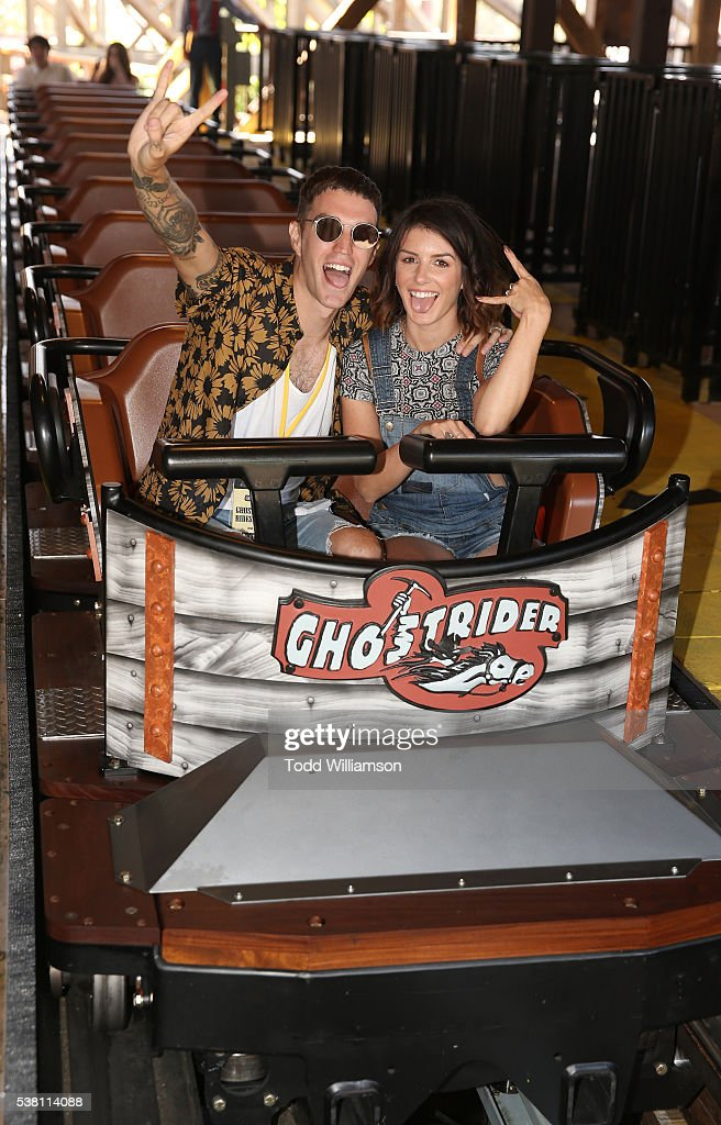 Josh Beech and Shenae GrimesBeech ride a rollarcoaster at the GHOSTRIDER Reopening @ Knott's Berry Farm Buena Park CA at Knott's Berry Farm on June 4...