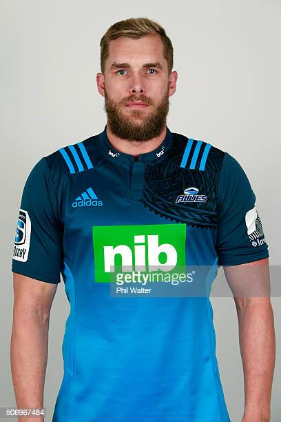 Josh Bekhuis during the Auckland Blues 2016 Super Rugby headshots session on January 27 2016 in Auckland New Zealand