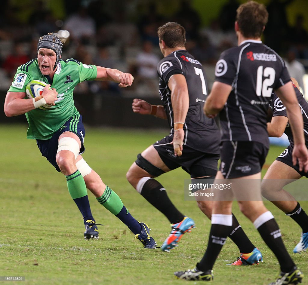Josh Bekhuis of the Highlanders on attack during the Super Rugby match between Cell C Sharks and Highlanders at Growthpoint Kings Park on April 25, 2014 in Durban, South Africa.