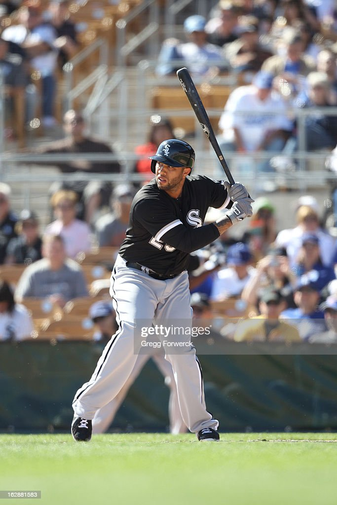 Josh Bell #25 of the Chicago White Sox digs in to hit during their spring training baseball game against the Los Angeles Dodgers at Camelback Ranch in February 23, 2013 in Glendale Arizona.