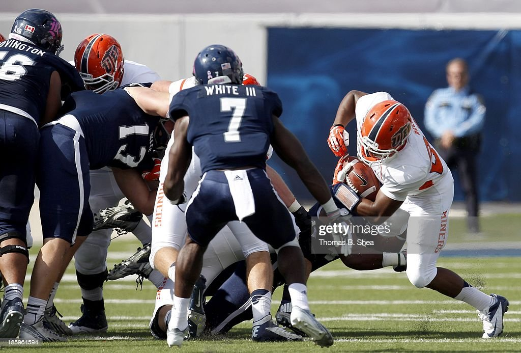 Josh Bell #23 of the UTEP Miners rushes against the Rice Owls on October 26, 2013 at Rice Stadium in Houston, Texas. Rice won 45 to 7.