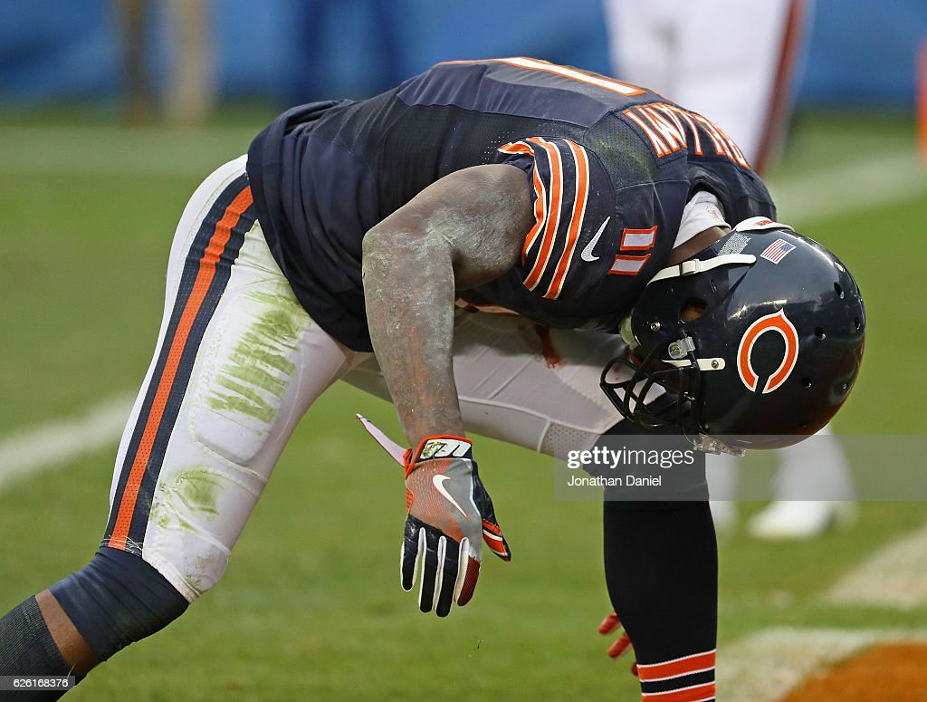 Josh Bellamy #11 of the Chicago Bears reacts after dropping the ball in the end zone late in the game against the Tennessee Titans at Soldier Field on November 27, 2016 in Chicago, Illinois. The Titans defeated the Bears 27-21.