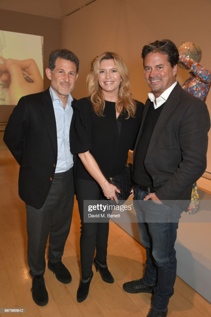 Josh Berger, Tina Hobley and Oliver Wheeler attend a private view of new exhibition 'From Life' at The Royal Academy of Arts on December 7, 2017 in London, England.