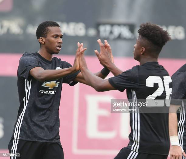 Josh Bohui of Manchester United U19s celebrates scoring their second goal during the UEFA Youth League match between Benfica U19s and Manchester...