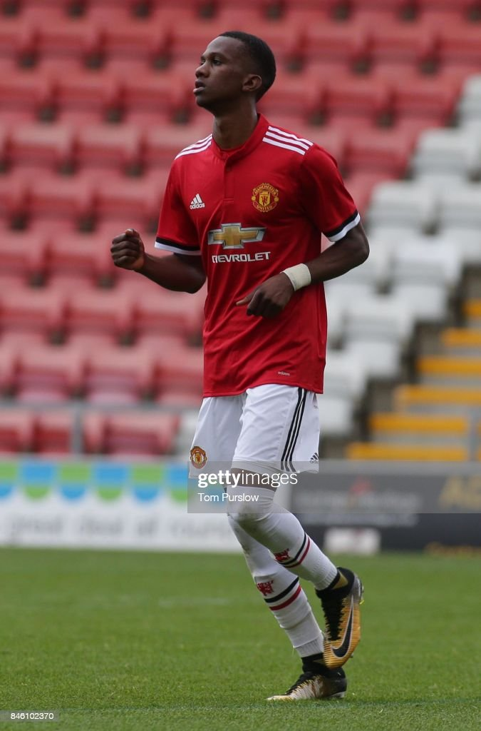 Josh Bohui of Manchester United U19s in action during the UEFA Youth League match between Manchester United U19s and FC Basel U19s at Leigh Sports Village on September 12, 2017 in Leigh, Greater Manchester.