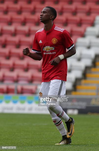 Josh Bohui of Manchester United U19s in action during the UEFA Youth League match between Manchester United U19s and FC Basel U19s at Leigh Sports...