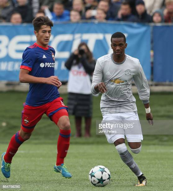 Josh Bohui of Manchester United U19s in action during the UEFA Youth League match between CSKA Moskva U19s and Manchester United U19s at Oktyabr...