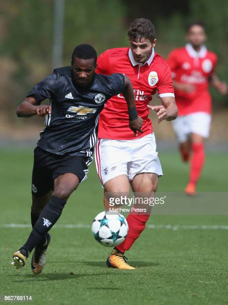 Josh Bohui of Manchester United U19s in action during the UEFA Youth League match between Benfica U19s and Manchester United U19s at Caixa Futebol...
