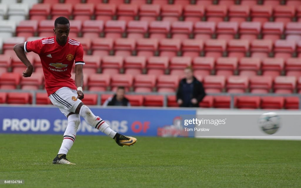 Josh Bohui of Manchester United U19s scores their fourth goal during the UEFA Youth League match between Manchester United U19s and FC Basel U19s at Leigh Sports Village on September 12, 2017 in Leigh, Greater Manchester.