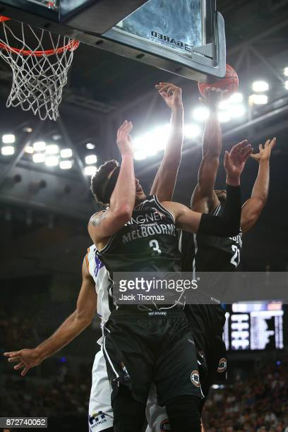 Josh Boone of Melbourne United competes for a rebound during the round six NBL match between Melbourne United and the Sydney Kings at Hisense Arena...