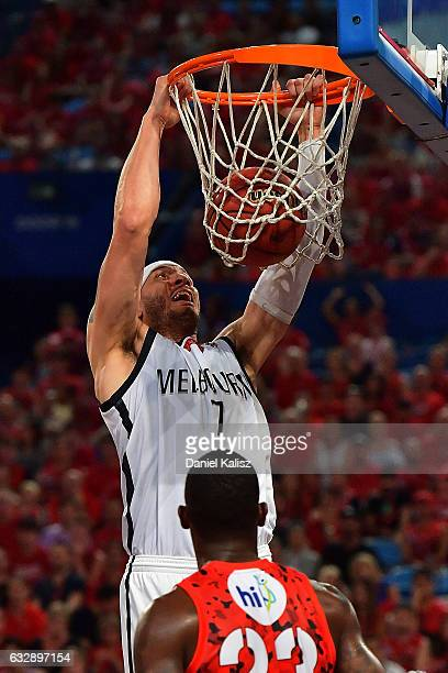 Josh Boone of Melbourne United dunks during the round 17 NBL match between the Perth Wildcats and Melbourne United at Perth Arena on January 28 2017...