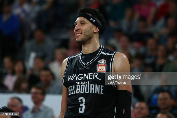 Josh Boone of Melbourne United looks on during the round five NBL match between Melbourne United and the Adelaide 36ers at Hisense Arena on November...