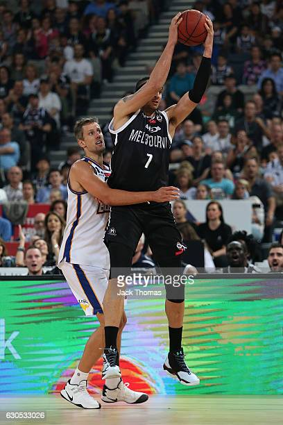 Josh Boone of Melbourne United rebounds the ball during the round 12 NBL match between Melbourne and Brisbane at Hisense Arena on December 26 2016 in...