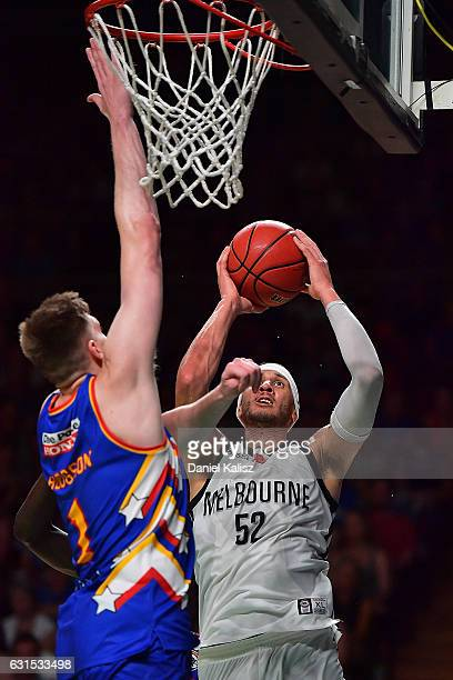 Josh Boone of Melbourne United shoots during the round 15 NBL match between the Adelaide 36ers and Melbourne United at Titanium Security Arena on...