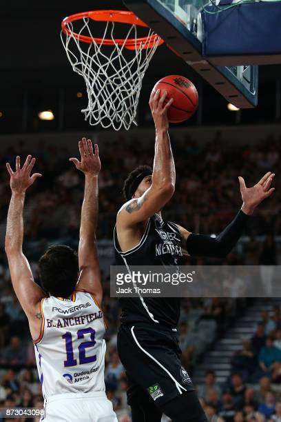 Josh Boone of Melbourne United shoots during the round six NBL match between Melbourne United and the Sydney Kings at Hisense Arena on November 11...