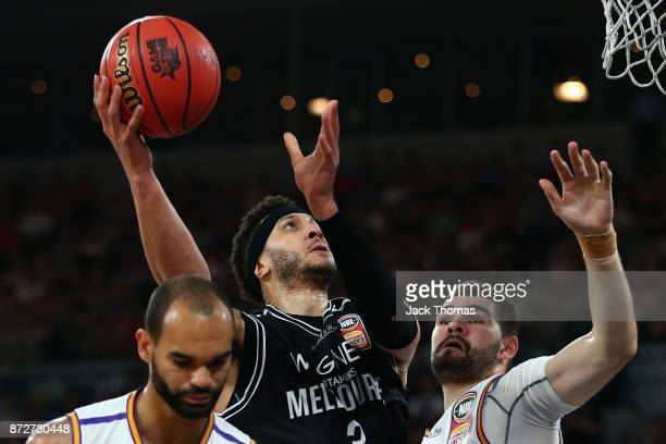 Josh Boone of Melbourne United shoots the ball during the round six NBL match between Melbourne United and the Sydney Kings at Hisense Arena on...