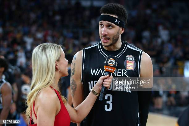Josh Boone of Melbourne United talks to the media following the round six NBL match between Melbourne United and the Sydney Kings at Hisense Arena on...