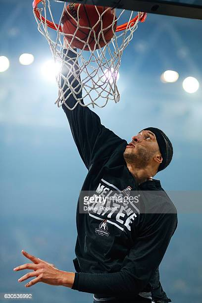 Josh Boone of Melbourne United warms up prior to the round 12 NBL match between Melbourne and Brisbane at Hisense Arena on December 26 2016 in...