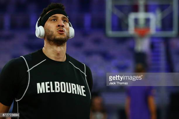 Josh Boone of Melbourne United warms up priot to the round six NBL match between Melbourne United and the Sydney Kings at Hisense Arena on November...