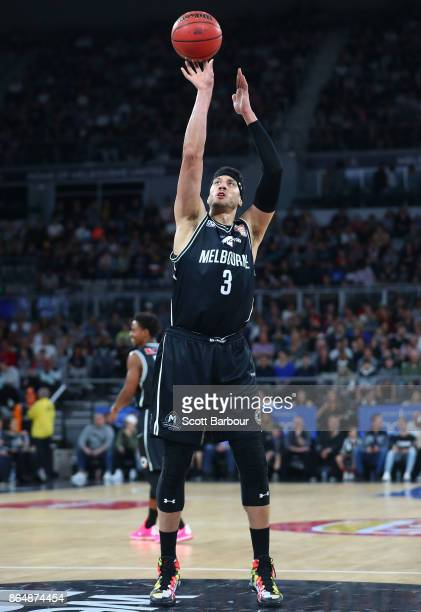 Josh Boone of United controls the ball during the round three NBL match between Melbourne United and the New Zealand Breakers at Hisense Arena on...