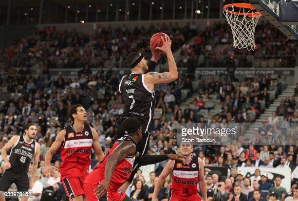 Josh Boone of United drives to the basket to score during the round 18 NBL match between Melbourne United and the Illawarra Hawks at Hisense Arena on...