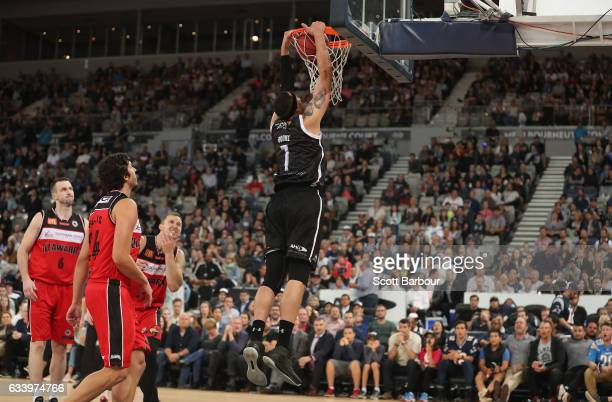 Josh Boone of United dunks the ball to score during the round 18 NBL match between Melbourne United and the Illawarra Hawks at Hisense Arena on...