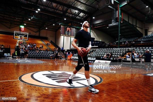 Josh Boone of United during warm up prior to the round 19 NBL match between the New Zealand Breakers and Melbourne United at North Shore Events...