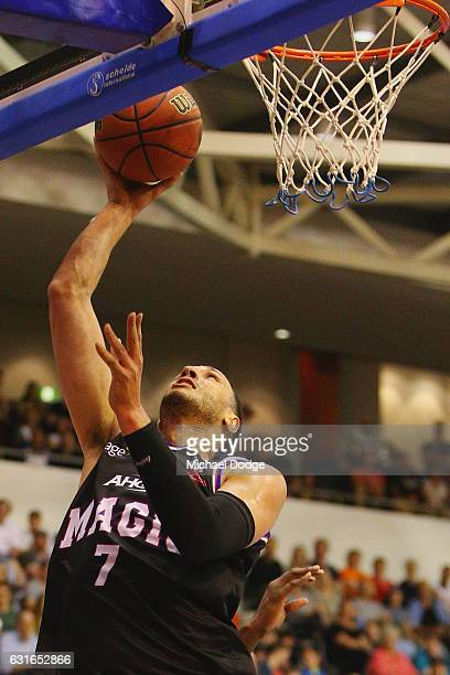 Josh Boone of United makes a basket during the round 15 NBL match between Melbourne United and the Cairns Taipans at the State Netball Hockey Centre...