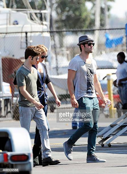 Josh Bowman and Emily VanCamp are seen on the movie set of 'Revenge' on October 01 2012 in Los Angeles California