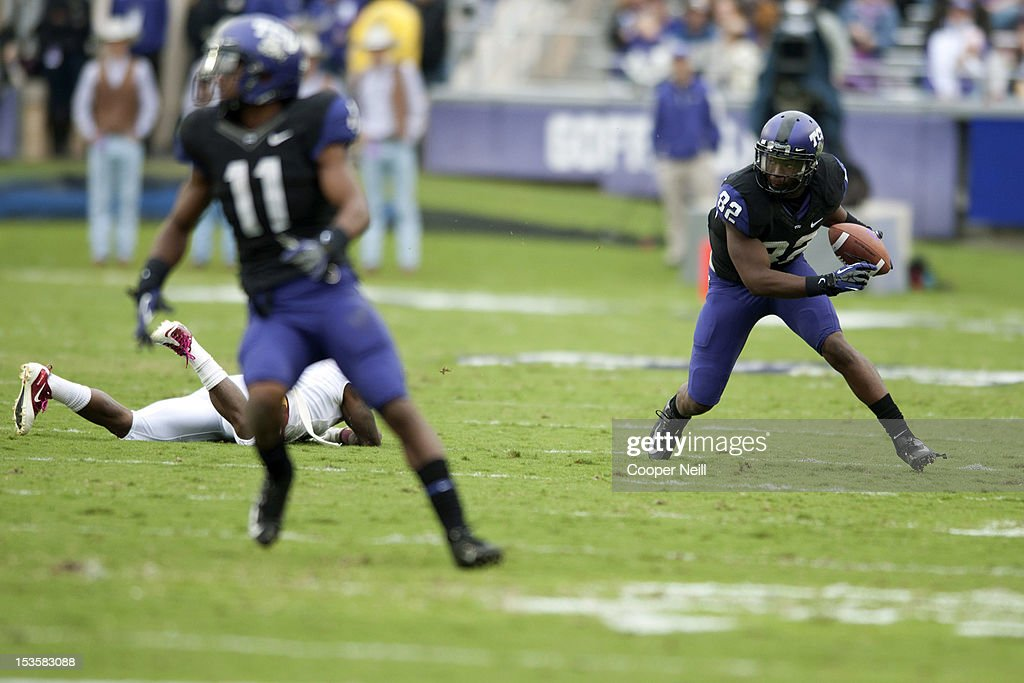 Josh Boyce #82 of the TCU Horned Frogs breaks free during the Big 12 Conference game against the Iowa State Cyclones on October 6, 2012 at Amon G. Carter Stadium in Fort Worth, Texas.