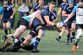 Josh Brajkovic of College Rifles looks to pass during the match between College Rifles and Grammar TEC at College Rifles on July 23 2016 in Auckland...