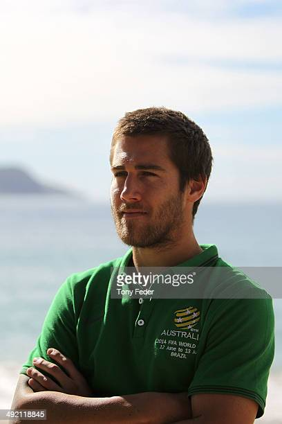 Josh Brillante after a cooldown session during an Australian Socceroos training session at Terrigal Beach on May 19 2014 in Gosford Australia