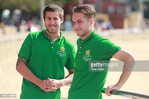 Josh Brillante and Adam Taggart after a cool down session at Terrigal Beach during an Australian Socceroos training session at Terrigal Beach on May...