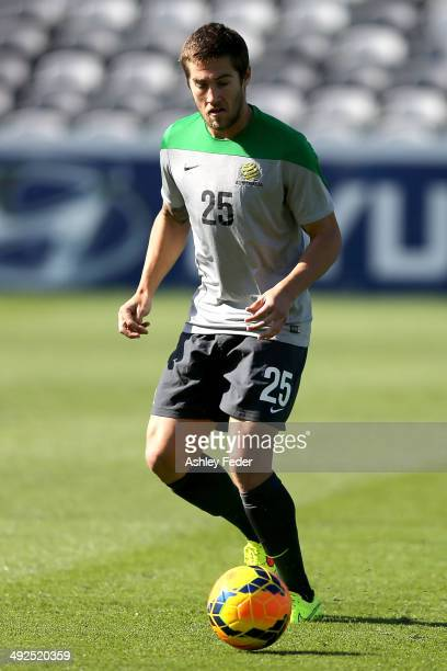 Josh Brillante in action during an Australian Socceroos training session at Central Coast Stadium on May 21 2014 in Gosford Australia