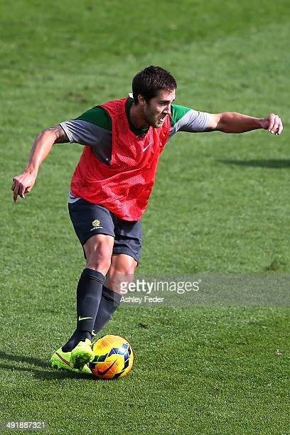Josh Brillante in action during the Australian Socceroos Fan Day Training Session at Bluetongue Stadium on May 18 2014 in Gosford Australia