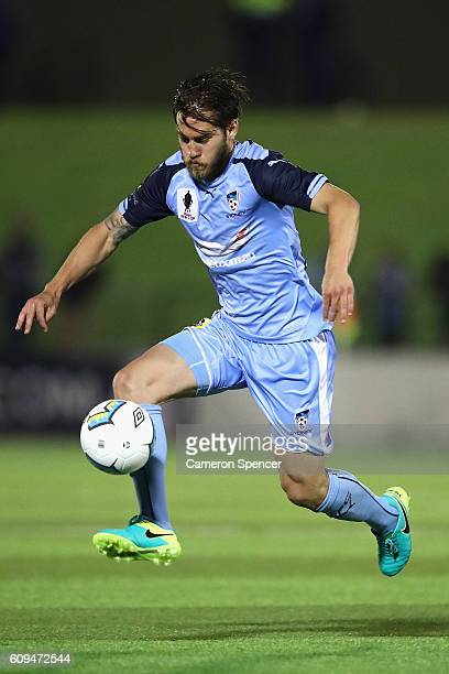 Josh Brillante of Sydney FC controls the ball during the FFA Cup Quarter Final between Blacktown and Sydney FC on September 21 2016 in Sydney...