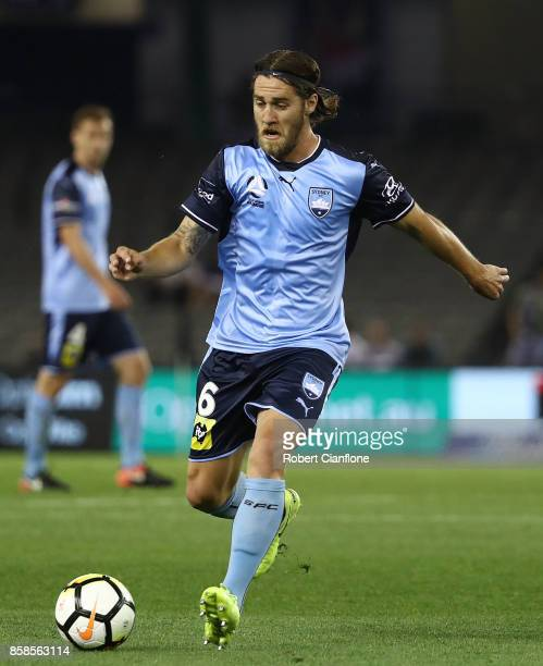Josh Brillante of Sydney FC controls the ball during the round one ALeague match between the Melbourne Victory and Sydney FC at Etihad Stadium on...