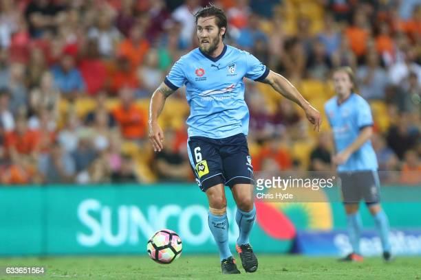 Josh Brillante of Sydney FC kicks during the round 18 ALeague match between the Brisbane Roar and Sydney FC at Suncorp Stadium on February 3 2017 in...