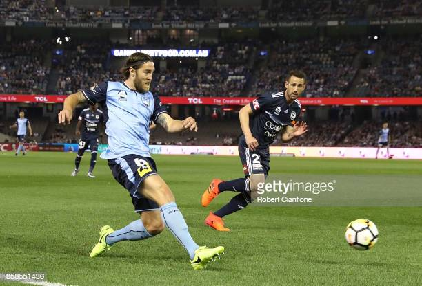 Josh Brillante of Sydney FC kicks the ball during the round one ALeague match between the Melbourne Victory and Sydney FC at Etihad Stadium on...