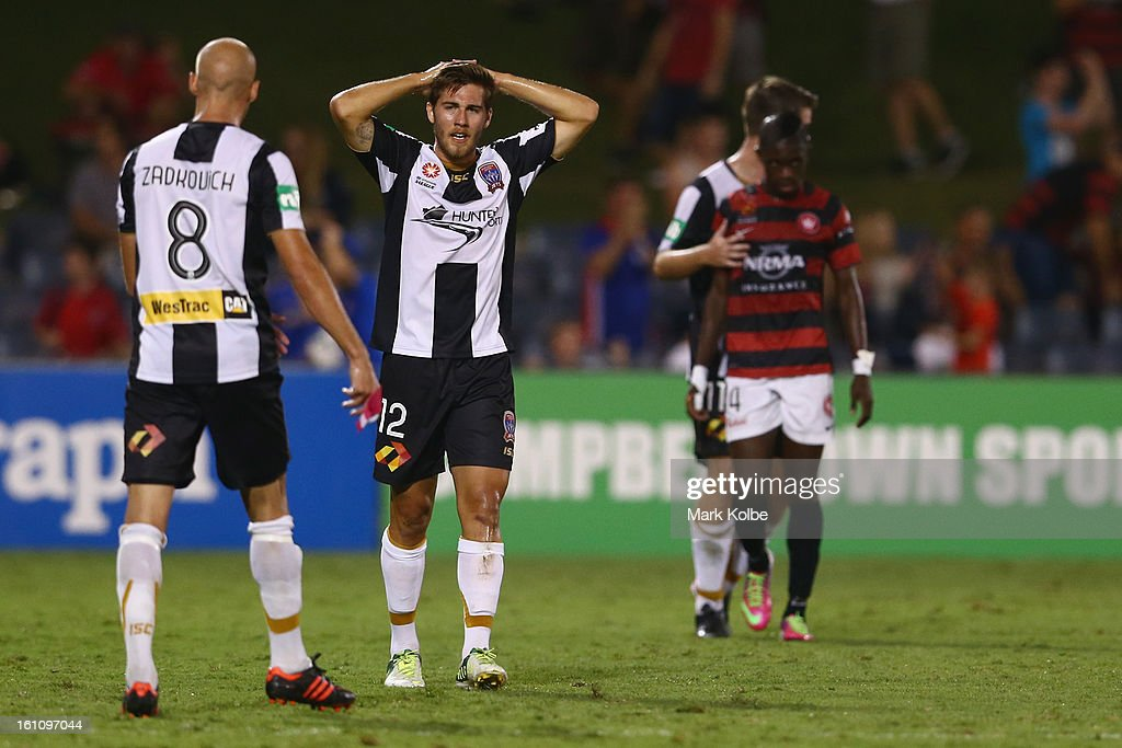 Josh Brillante of the Jets looks dejected after their defeat during the round 20 A-League match between the Western Sydney Wanderers and the Newcastle Jets at Campbelltown Sports Stadium on February 9, 2013 in Sydney, Australia.