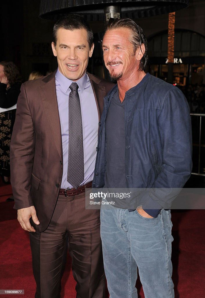 <a gi-track='captionPersonalityLinkClicked' href=/galleries/search?phrase=Josh+Brolin&family=editorial&specificpeople=243198 ng-click='$event.stopPropagation()'>Josh Brolin</a> and <a gi-track='captionPersonalityLinkClicked' href=/galleries/search?phrase=Sean+Penn&family=editorial&specificpeople=202979 ng-click='$event.stopPropagation()'>Sean Penn</a> arrives at the 'Gangster Squad' - Los Angeles Premiere at Grauman's Chinese Theatre on January 7, 2013 in Hollywood, California.
