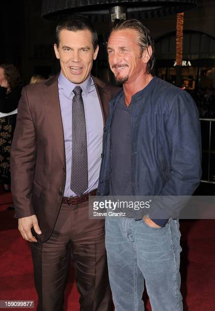 Josh Brolin and Sean Penn arrives at the 'Gangster Squad' Los Angeles Premiere at Grauman's Chinese Theatre on January 7 2013 in Hollywood California