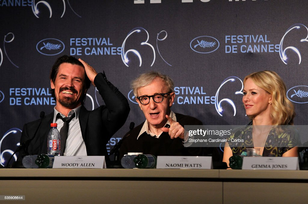 Josh Brolin, Woody Allen and Naomi Watts at the Press conference of 'You will meet a tall dark stranger' at the 63rd Cannes International Film Festival