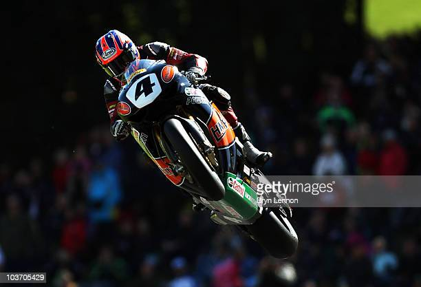 Josh Brookes of Australia and HM Plant Honda gets airbourne over the top of the The Mountain during qualifying the British Superbike Championship at...
