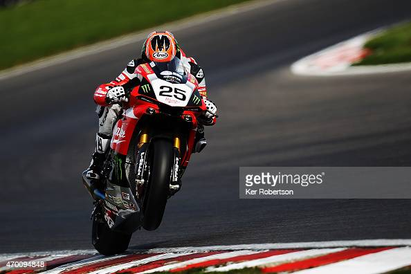 Josh Brooks of Milwaukee Yamaha rides during practice for the MCE British Superbike Championship race at Brands Hatch circuit on April 17 2015 in...