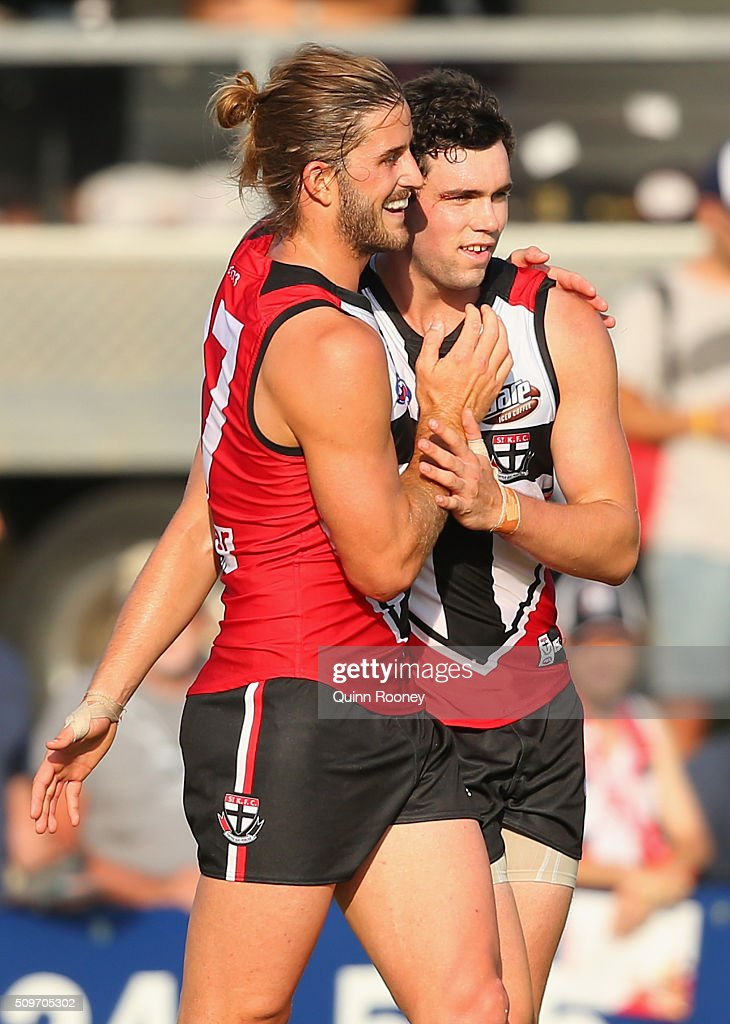 Josh Bruce and Paddy McCartin of the Saints celebrates a goal during the St Kilda Saints AFL Intra-Club Match at Trevor Barker Beach Oval on February 12, 2016 in Melbourne, Australia.